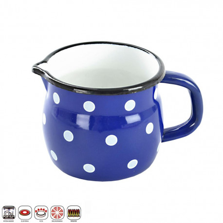 Hrnek smalt modrý puntík BELLY 10 cm