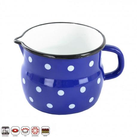 Hrnek smalt modrý puntík BELLY 12 cm