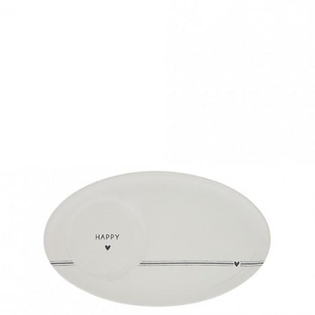 Oválný talířek HAPPY, černá, 17x10,5 cm