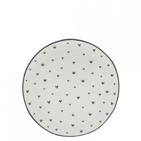 Dezertní talíř, MALÁ SRDÍČKA, černá, 16 cm
