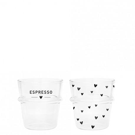Sklenice na kávu ESPRESSO, srdíčka, černá