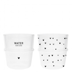 Sklenice WATER WITH LOVE, srdíčka, černá, 8,5x9 cm