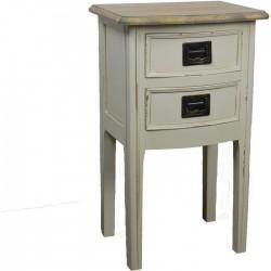 Dřevěný stolek bílý, 2 zásuvky