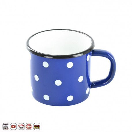 Hrnek smalt modrý puntík 10 cm