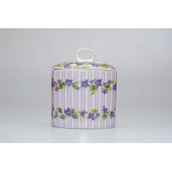 Dóza fialové květy, porcelán, 13x11x cm