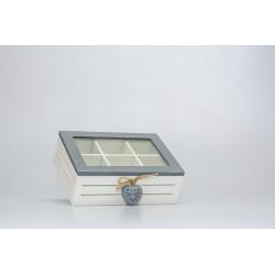 Krabička na čaj se srdíčkem, dřevo, 7x16x21 cm