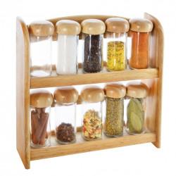 Kořenka sklo/dřevo 10 ks+polička dřevo
