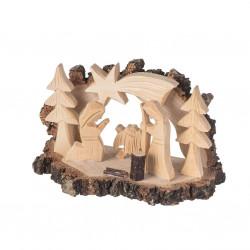Dřevěný betlém s kůrou XXIV