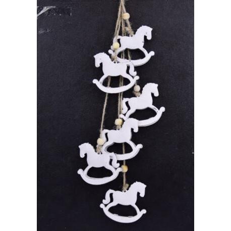 Girlanda 6 koníků, bílá, 44 cm