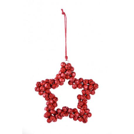 Hvězda z rolniček, červená, malá