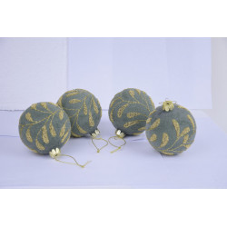 Ozdoba koule, zeleno-zlatá, 8 cm, 1 ks