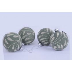 Ozdoba koule, zeleno-stříbrná, 8 cm, 1 ks