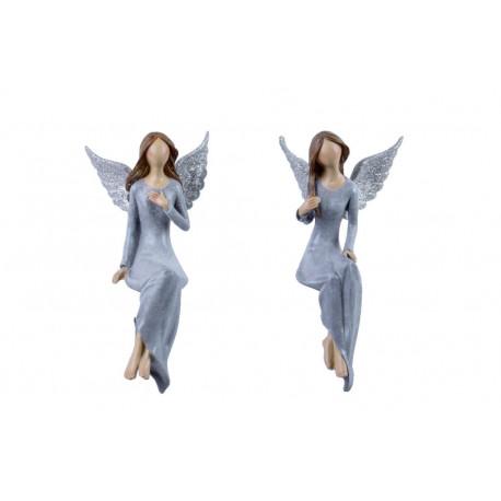 Anděl Lea, modrá, sedící, 25 cm, ASS
