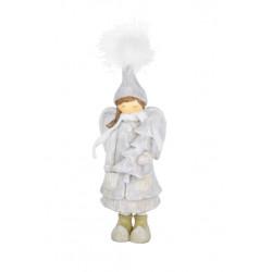 Anděl s kabátkem, šedá, 26 cm