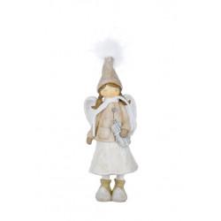 Anděl s kabátkem, béžová, 25 cm