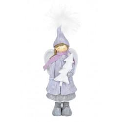 Anděl s kabátkem, modrá, 26 cm