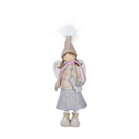 Anděl s kabátkem, hnědá, 25 cm