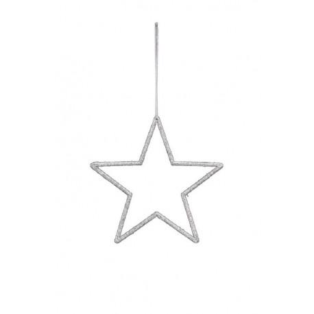 Závěs hvězda, stříbrná, 12x12 cm