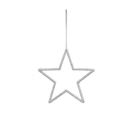 Závěs hvězda, stříbrná, 18x18 cm