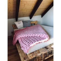 Růžová deka Merino 170x170 cm