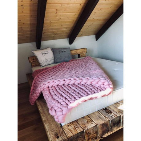 růžová deka merino