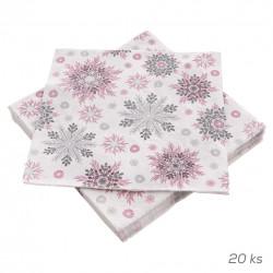 Ubrousek papír Snowflakes Pink PAW 20 ks 33x33 cm