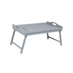 Dřevěný servírovací stolek do postele 50x30 cm šedý