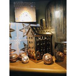 Svícen HOME, zlatá, keramika
