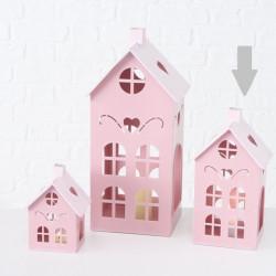 Lucerna domek, střední, růžová