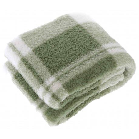 Teplá kostkovaná deka Guus olejová zelená