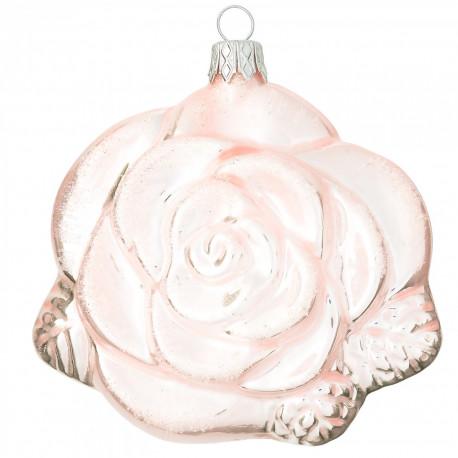 Baňka RŮŽE, růžová, třpytky, 1 ks