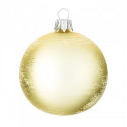 Baňka KOULE, zlatá, bílé krystalky, 7 cm, 1ks