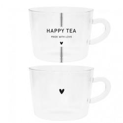 Sklenice na čaj HAPPY TEA, srdíčko, černá, 10x7 cm