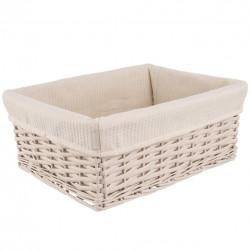Košík proutí/bavlna 40x30x16,5 cm BÉŽOVÝ