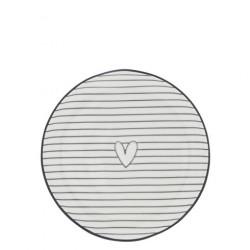 Dezertní talíř SRDCE proužek, černá, 16 cm