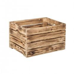 Opálená dřevěná bedýnka 40 x 30 x 24 cm
