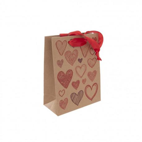 Taška dárková 14x18 cm HEARTS