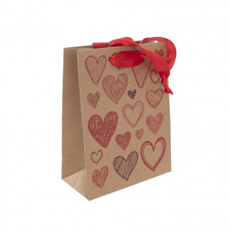 Taška dárková 18x23 cm HEARTS