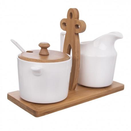 Mlékovka+cukřenka porc.+stojan bambus BAMBU