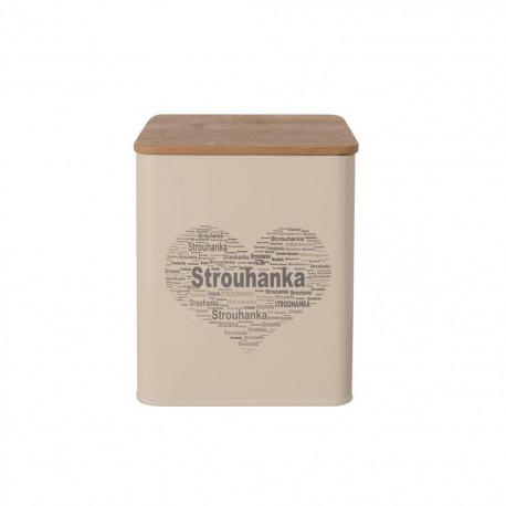 Dóza plech/dřevo 11,5x11,5x14 cm STROUHANKA SRDCE