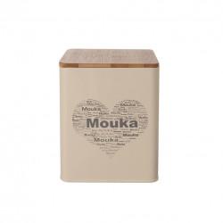 Dóza plech/dřevo 11,5x11,5x14 cm MOUKA SRDCE