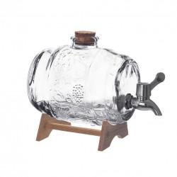 Soudek sklo+kohoutek+stojan dřevo 1 l