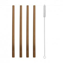 Brčko bambus nápojové 4 ks 20 cm+kartáček