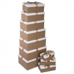 Krabice papír dárková zlatá/bílá 10 ks