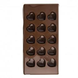 Forma silikon na čokoládu SRDCE 15, hnědá