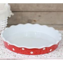 Keramická forma na koláč 30cm červená