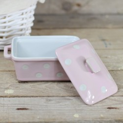 Keramická máslenka/zapékací miska s pokličkou růžová