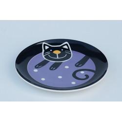 Desertní talířek Veselá kočka fialová