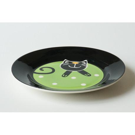 Desertní talířek Veselá kočka zelená