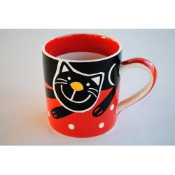 Hrnek 0,33l Veselá kočka červená
